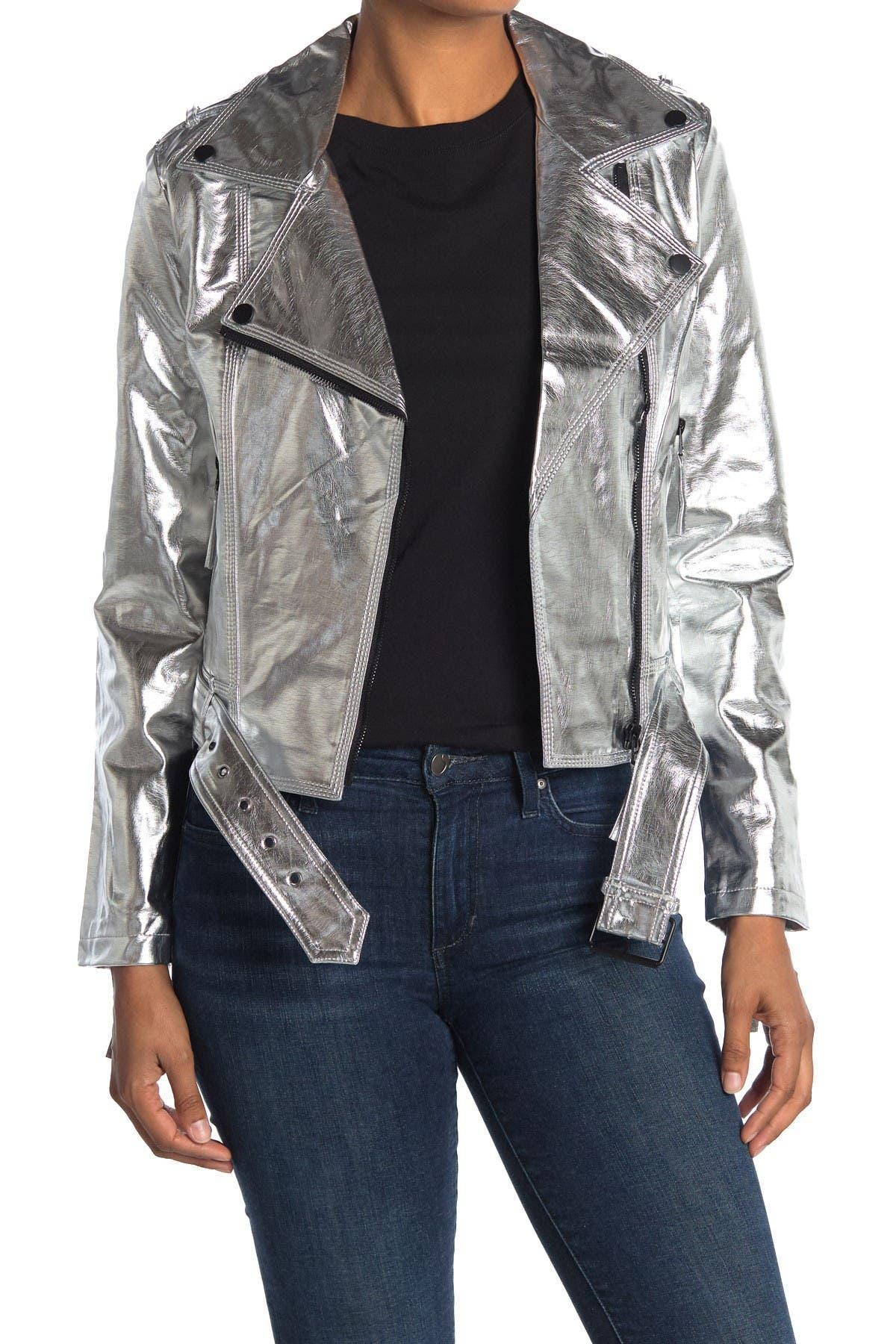Image of NOIZE Metallic Vegan Leather Belted Jacket