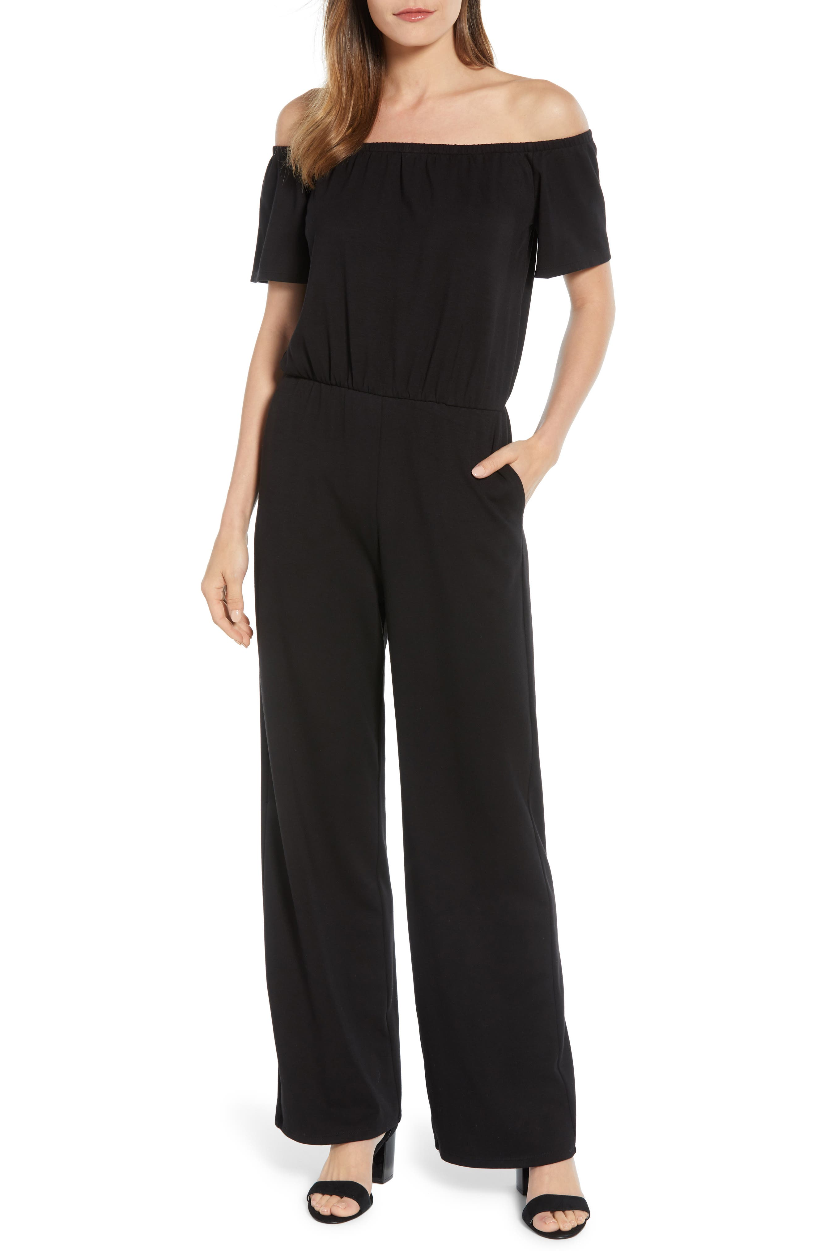 Gibson x Living in Yellow Iris Off the Shoulder Ponte Knit Jumpsuit (Regular & Petite) (Nordstrom Exclusive)