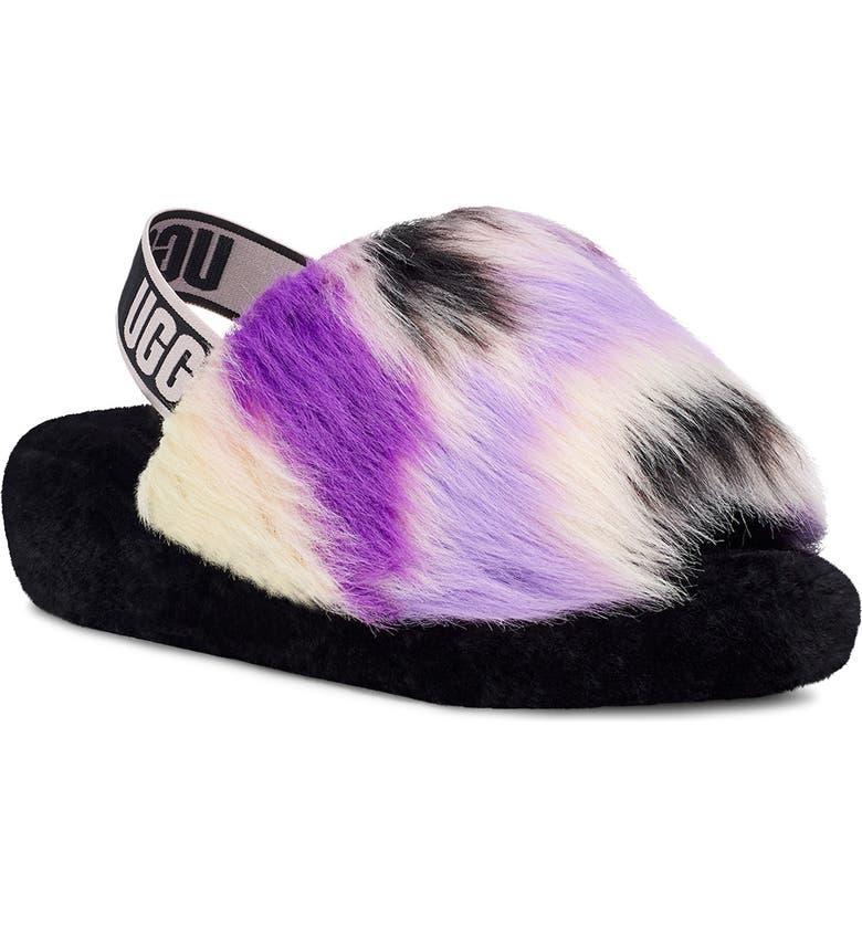 UGG<SUP>®</SUP> Fluff Yeah Genuine Shearling Slingback Sandal, Main, color, MAGNOLIA TIE DYE