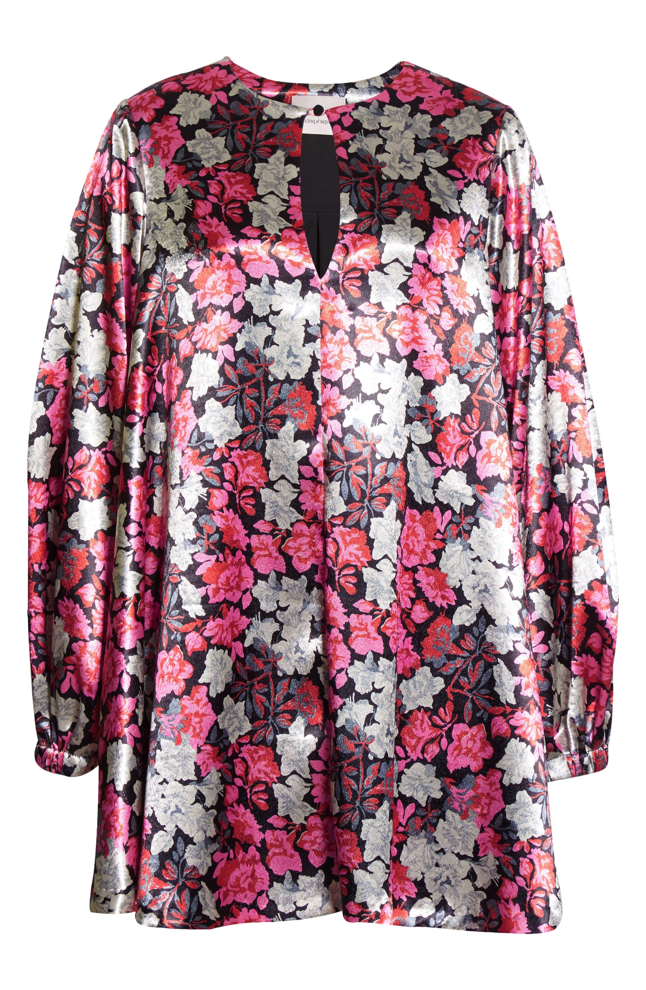 Cinq à Sept Beatrice Floral Satin Long Sleeve Shift Dress | Nordstrom