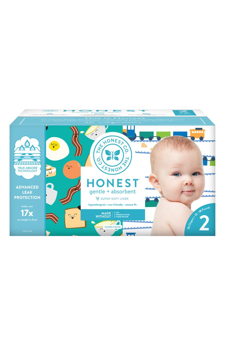 THE HONEST COMPANY Trains/Breakfast Size 2 Club Box Diapers, Main, color, 440