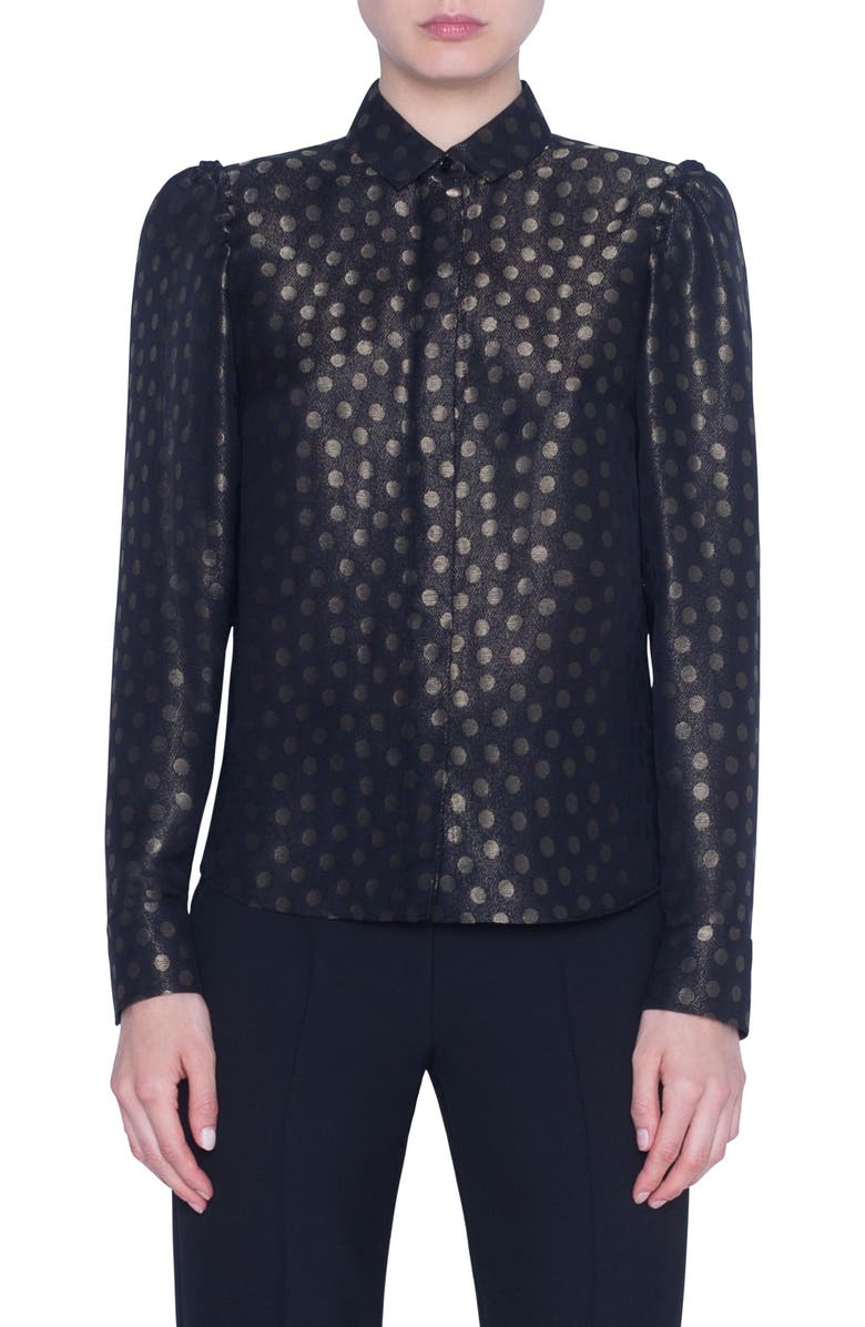 AKRIS PUNTO Gold Dot Puff Sleeve Blouse, Main, color, BLACK/ GOLD