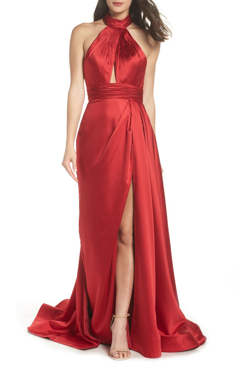 MAC DUGGAL Crossover Halter Neck Satin Gown, Main, color, BURGUNDY
