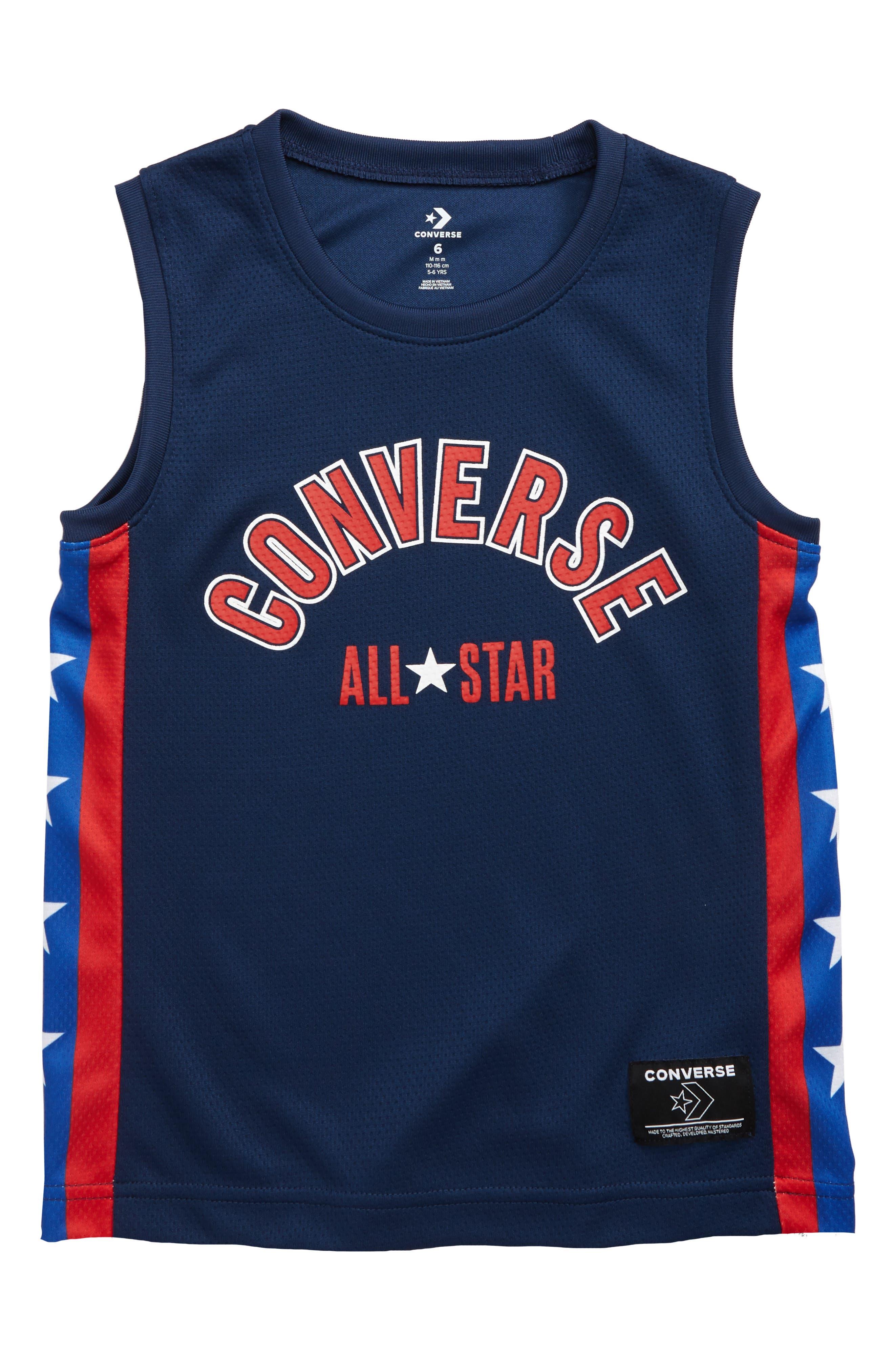 Boys Converse Star Stripe Mesh Jersey Shirt Size 4  Blue