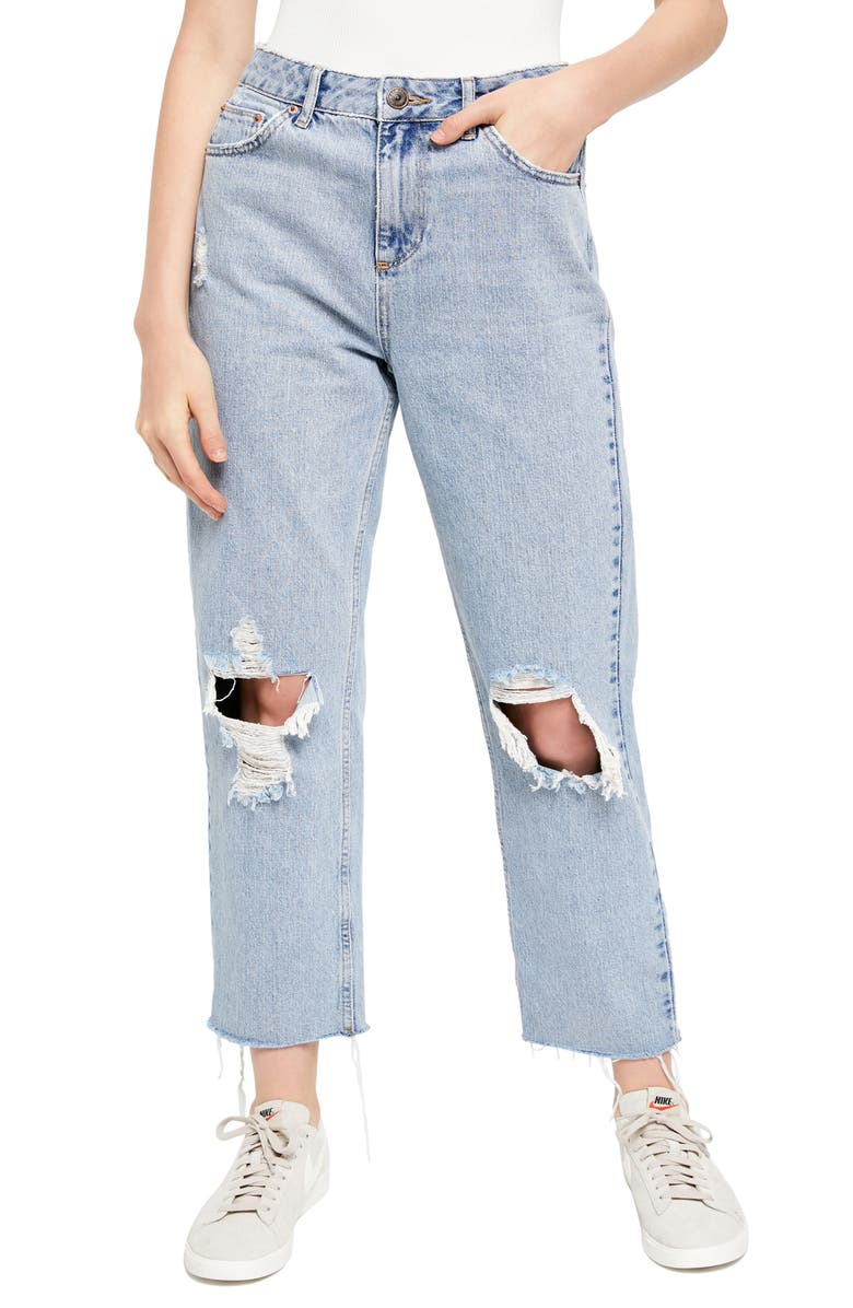 BDG URBAN OUTFITTERS Pax Ripped High Waist Jeans, Main, color, LIGHT WASH