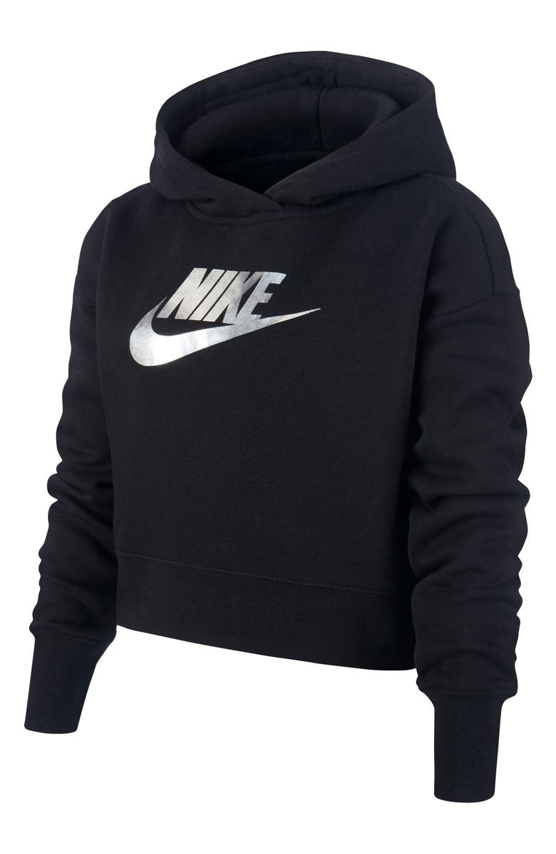 NIKE Sportswear Crop Hoodie, Main, color, BLACK