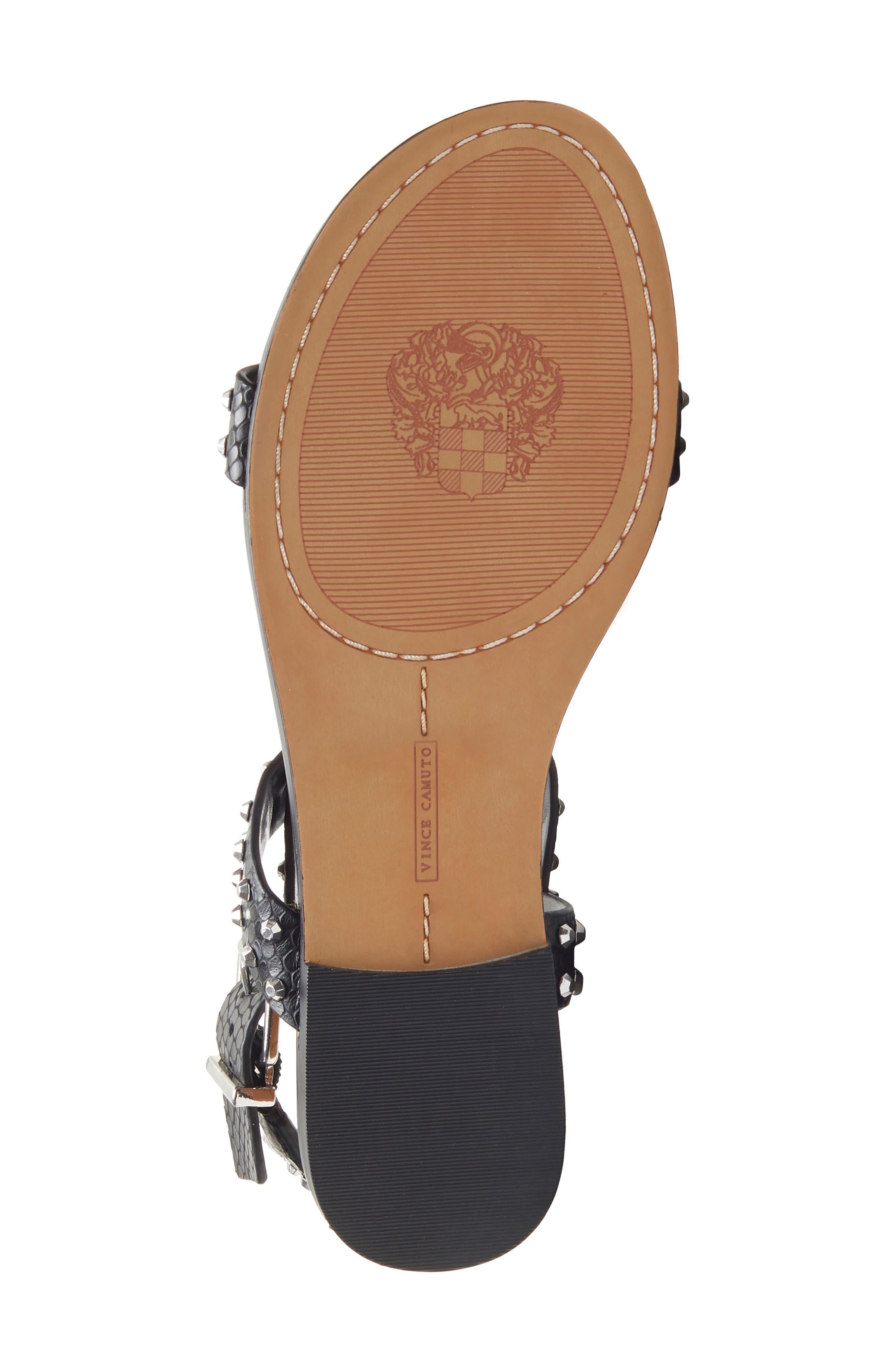 ,                             Ravensa Studded Sandal,                             Alternate thumbnail 6, color,                             BLACK LEATHER