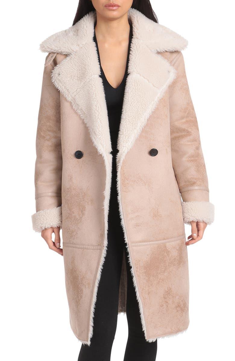 AVEC LES FILLES Faux Shearling Coat, Main, color, CREAM/ TAUPE