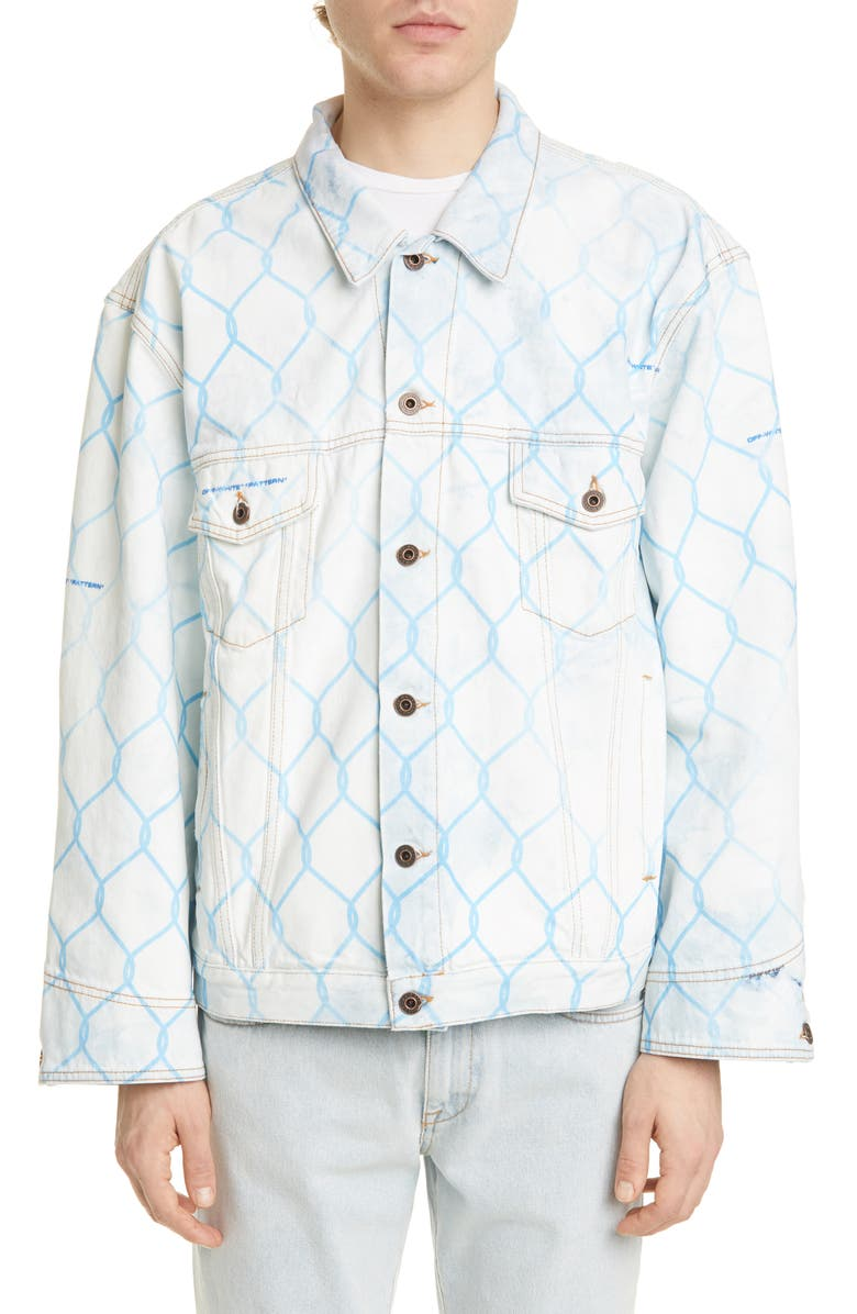 OFF-WHITE Fence Print Denim Jacket, Main, color, BLEACH LIGHT BLUE
