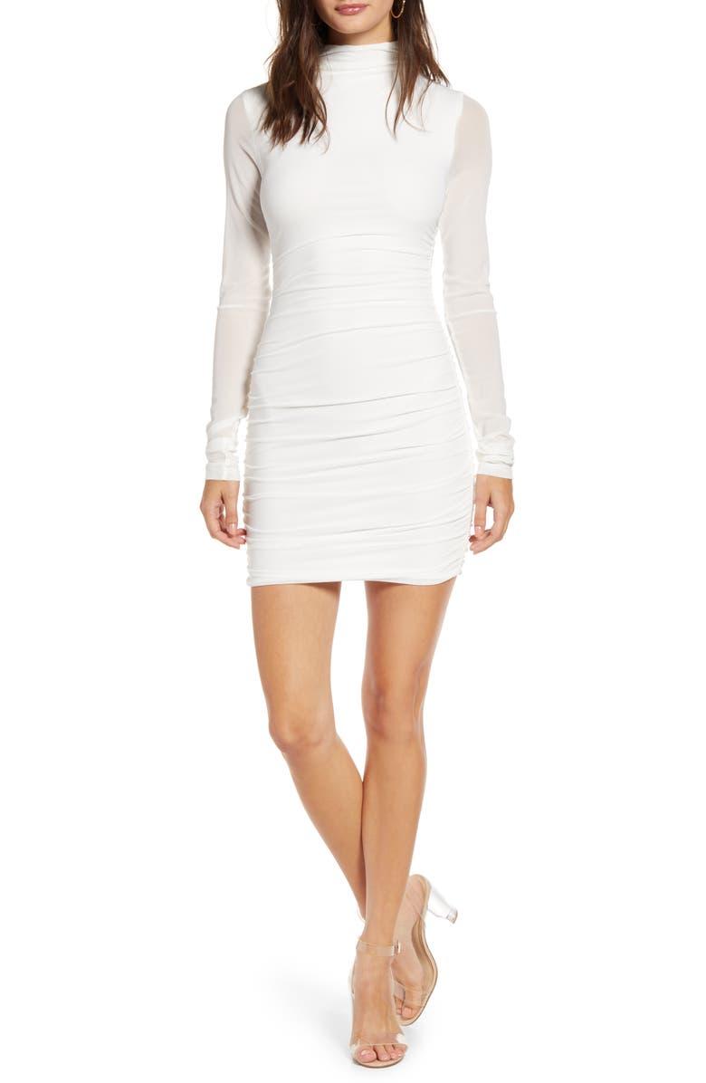 TIGER MIST Stella Long Sleeve Mesh Body-Con Dress, Main, color, WHITE