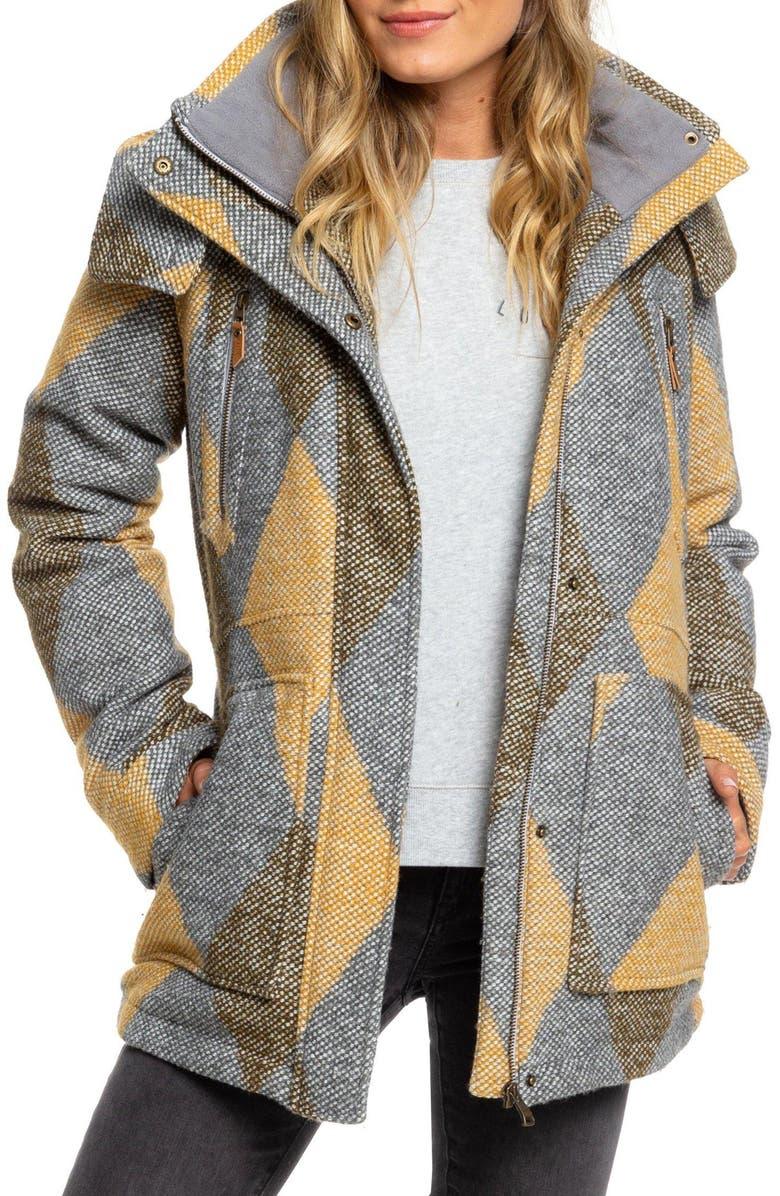 ROXY Dawn Hooded Coat, Main, color, HEATHER GREY TREETOP