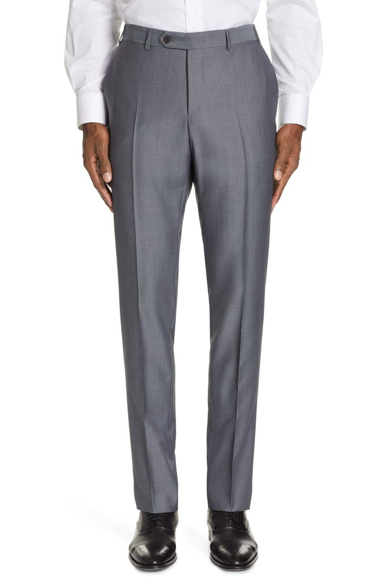 CANALI Classic Fit Solid Wool & Mohair Trousers, Main, color, 001