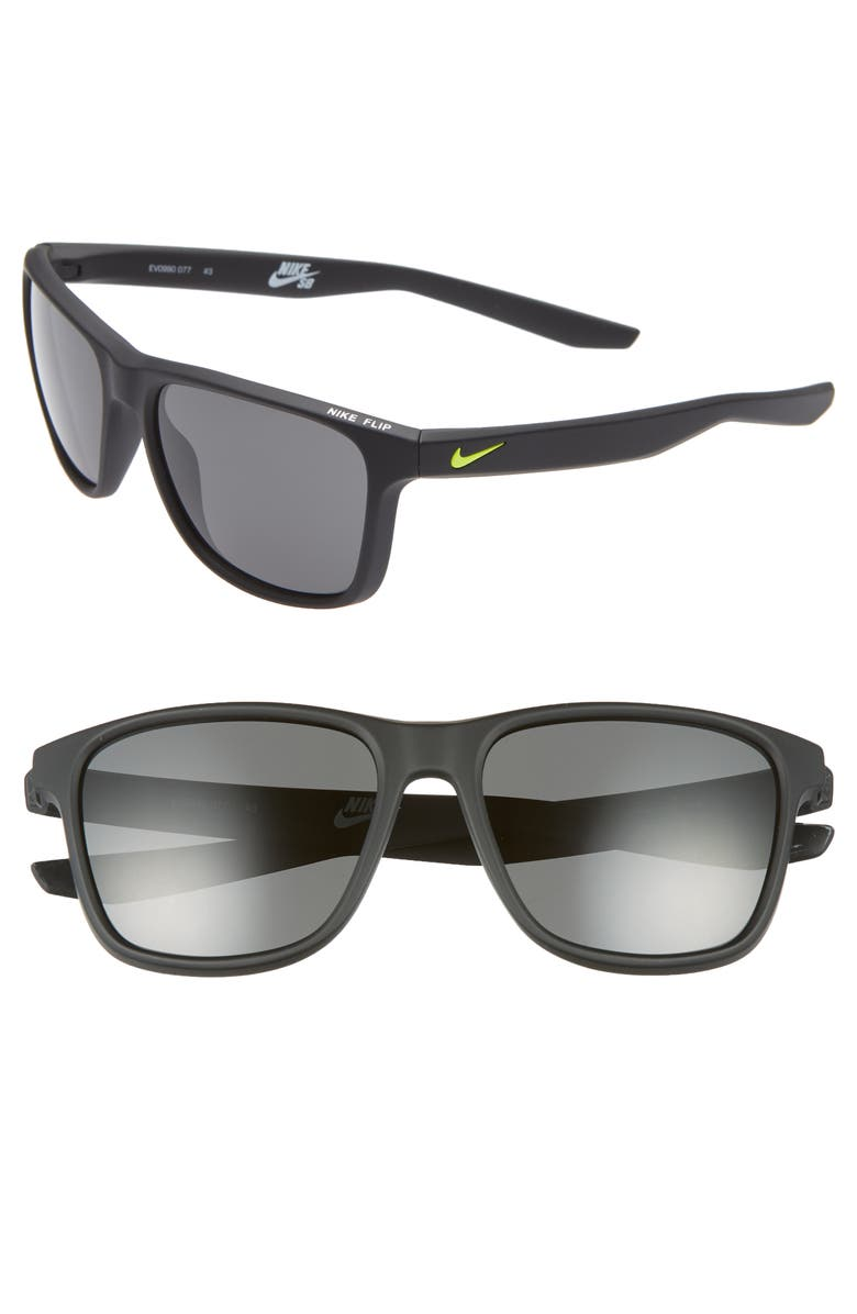 NIKE Flip 53mm Mirrored Sunglasses, Main, color, MATTE BLACK/ GREY