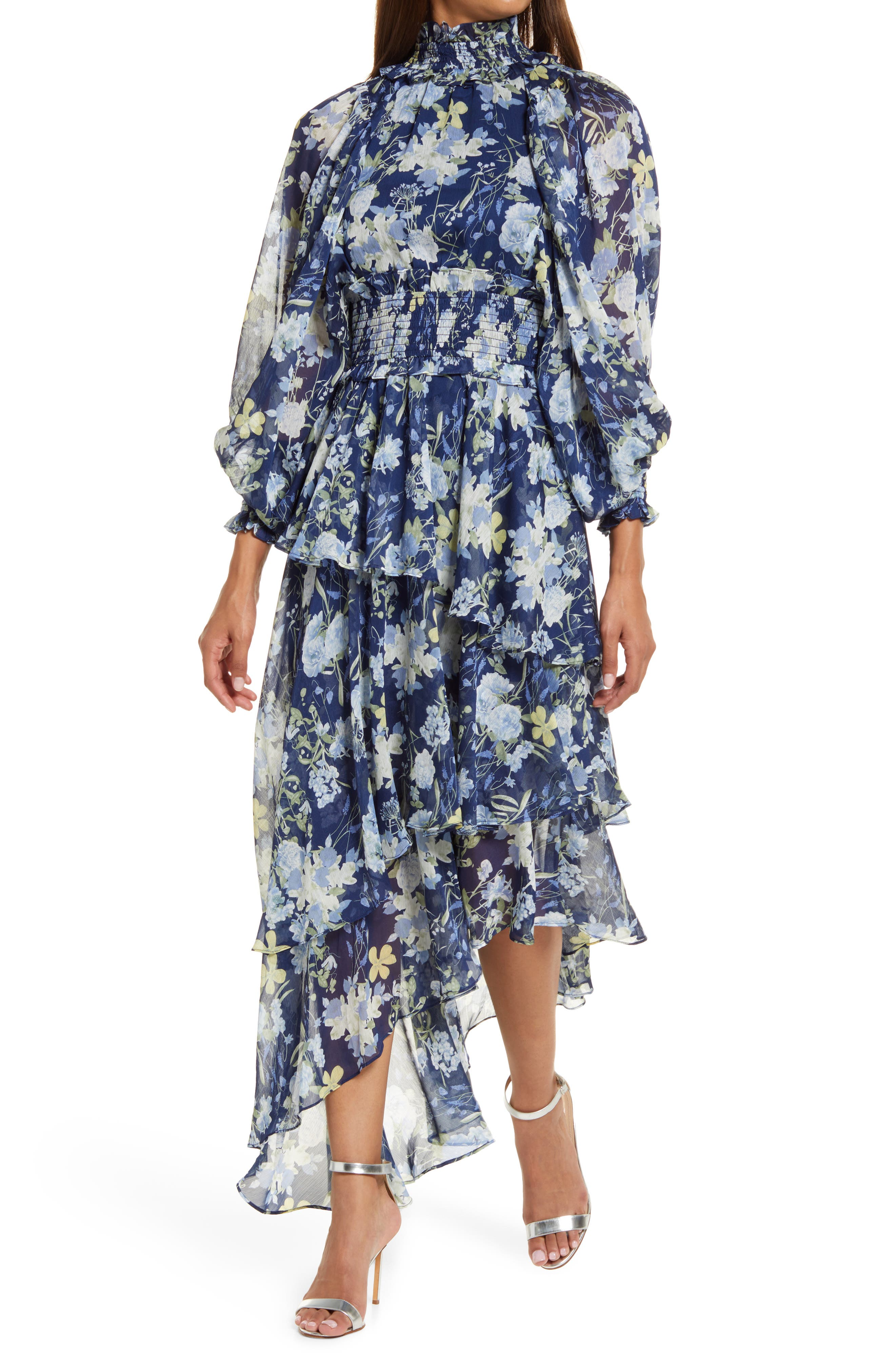 Astrid Floral Print Smocked Long Sleeve Dress
