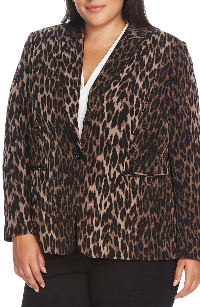 VINCE CAMUTO Animal Blazer, Main, color, RICH BLACK