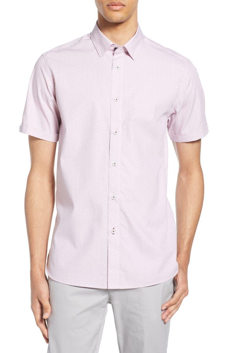 TED BAKER LONDON Rakoon Slim Fit Sport Shirt, Main, color, DUSKY PINK