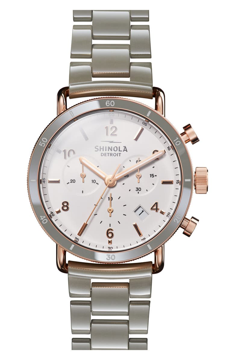 SHINOLA The Canfield Chrono Bracelet Watch, 40mm, Main, color, GREY/ WHITE/ ROSE GOLD