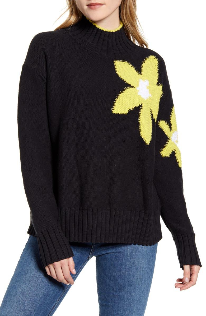 LOU & GREY Floral Turtleneck Sweater, Main, color, BLACK
