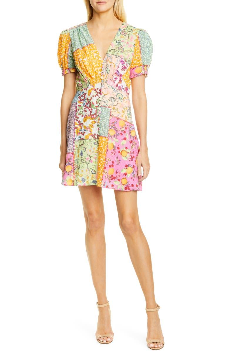 SALONI Lea Patchwork Print Minidress