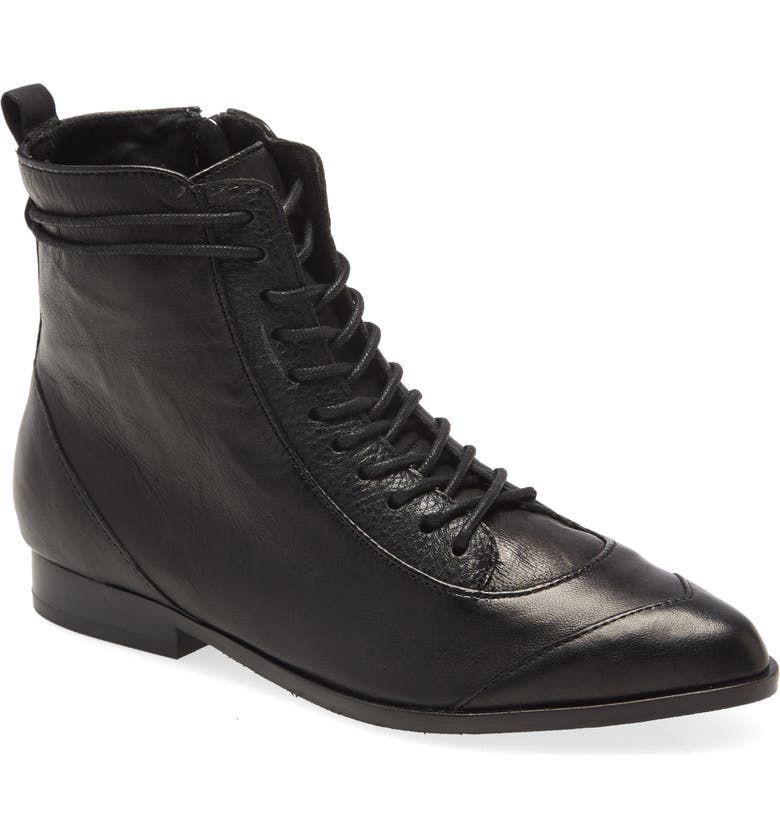 KELSI DAGGER BROOKLYN Sedona Lace-Up Bootie, Main, color, BLACK LEATHER