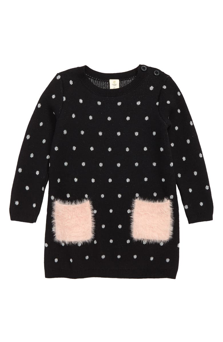 TUCKER + TATE Fuzzy Pocket Sweater Dress, Main, color, 001