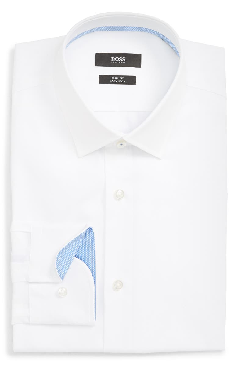 BOSS Jenno Slim Fit Easy Iron Solid Dress Shirt, Main, color, WHITE