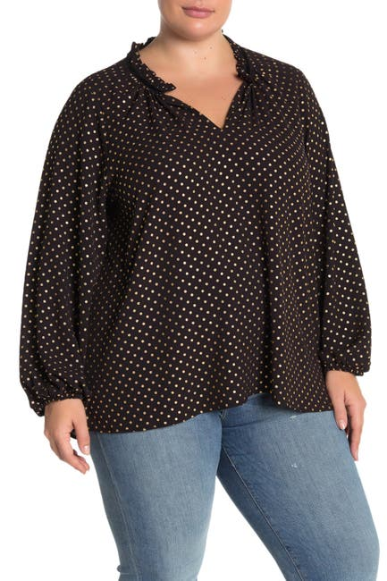 Image of Bobeau Polka Dot Split Neck Blouse