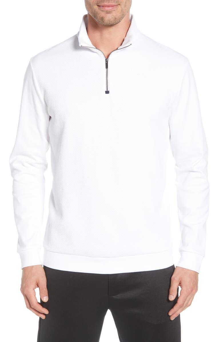 BUGATCHI Regular Fit Quarter Zip Pullover, Main, color, WHITE