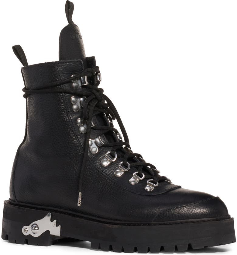 OFF-WHITE Leather Hiking Boot, Main, color, BLACK