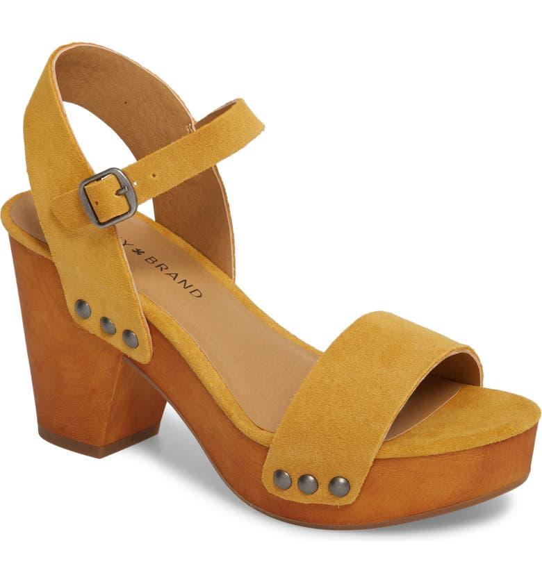 LUCKY BRAND Trisa Platform Sandal, Main, color, SAFFRON SUEDE