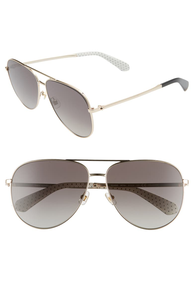 KATE SPADE NEW YORK isla 61mm aviator sunglasses, Main, color, GOLD/ BLACK/ GREY