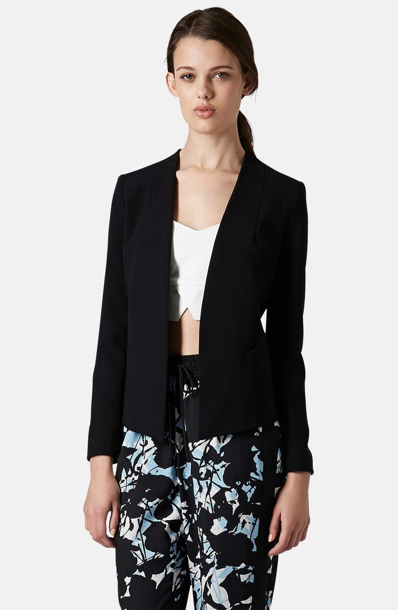 TOPSHOP Open Front Blazer, Main, color, 001