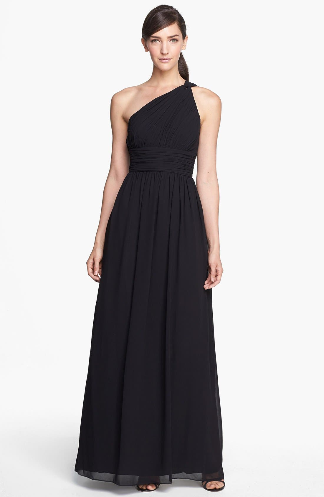 ,                             'Rachel' Ruched One-Shoulder Chiffon Gown,                             Main thumbnail 1, color,                             001