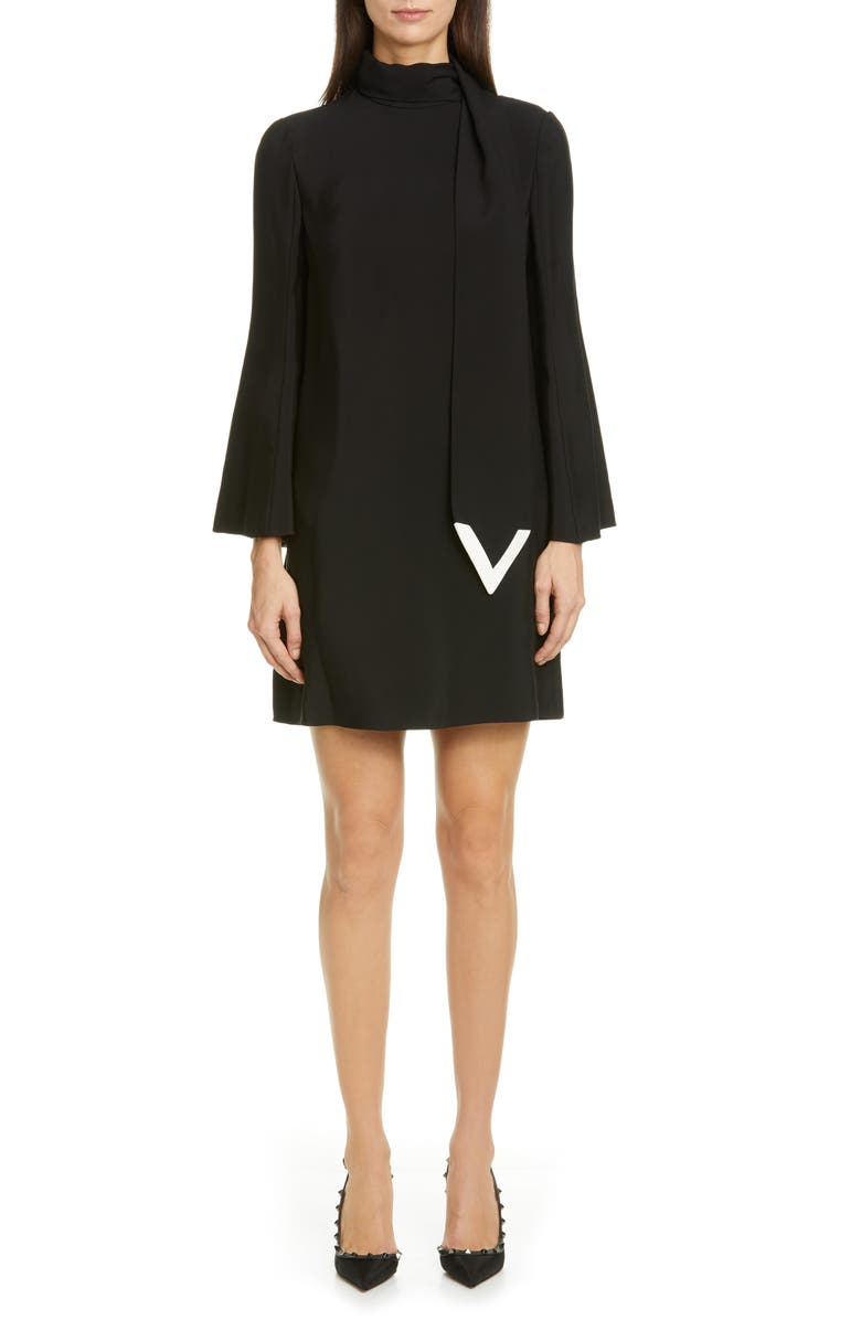 VALENTINO Scarf Neck Long Sleeve Minidress, Main, color, 001