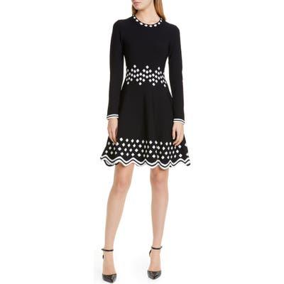 Lela Rose Diamond Jacquard Long Sleeve Fit & Flare Sweater Dress, Black