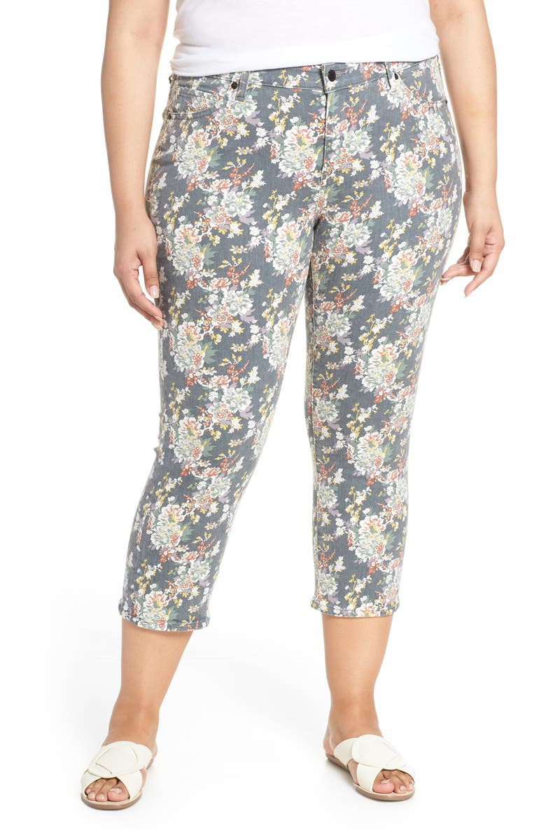 LUCKY BRAND Lolita Floral Crop Skinny Jeans, Main, color, GREY MULTI FORAL