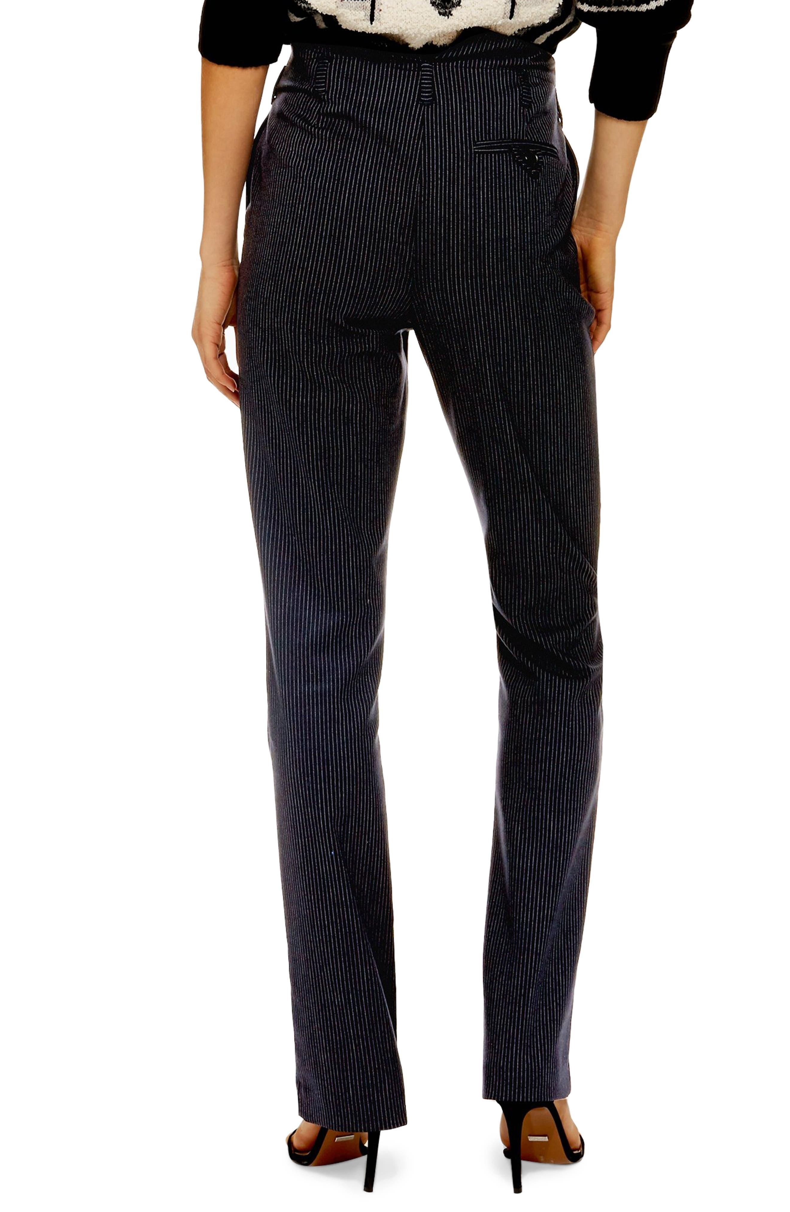 ,                             Pinstripe Trousers,                             Alternate thumbnail 2, color,                             NAVY BLUE