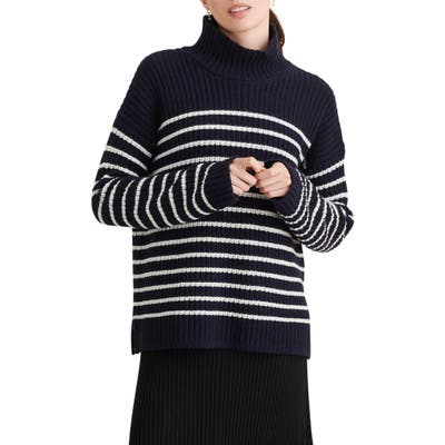 Alex Mill Seattle Stripe Mock Neck Merino Wool & Cashmere Sweater, Blue
