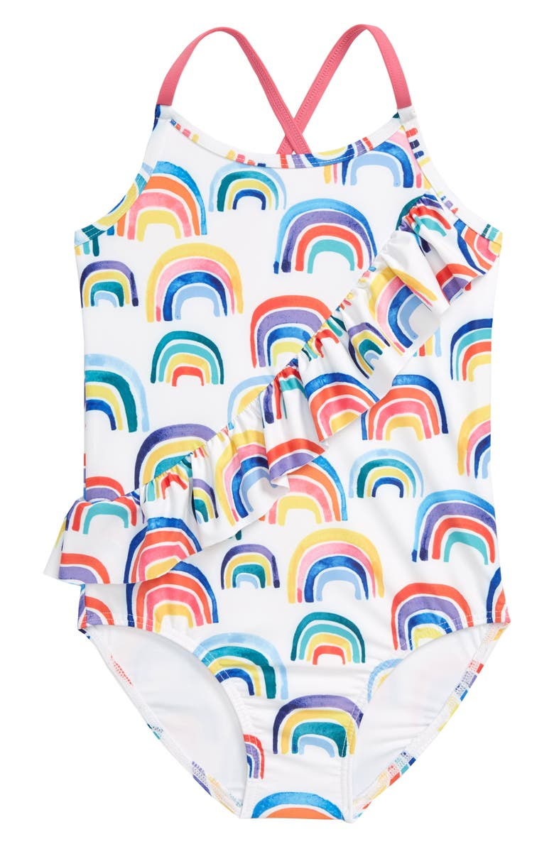 TUCKER + TATE Ruffle One-Piece Swimsuit, Main, color, WHITE MULTI RAINBOW