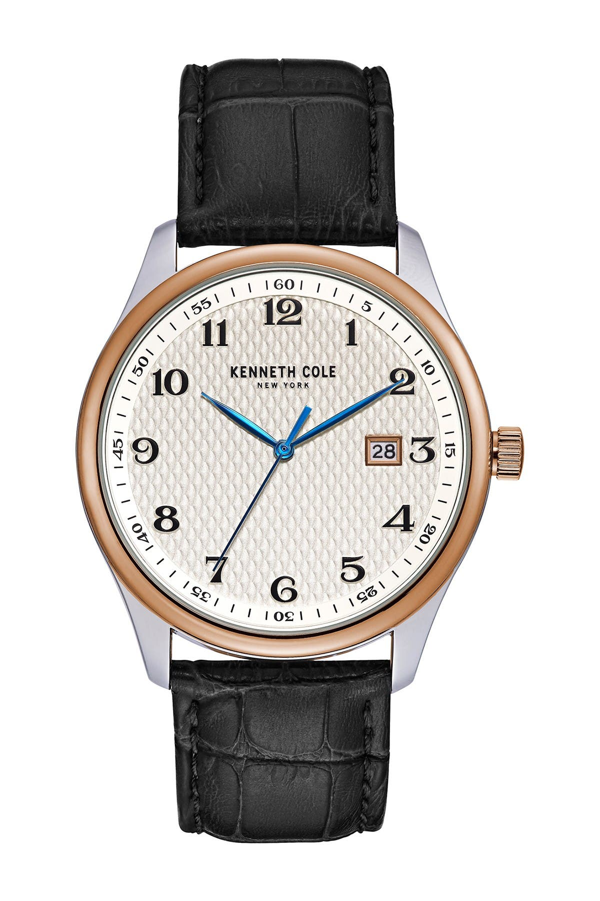 Image of Kenneth Cole New York Men's Classic 3-Hand Croc Embossed Leather Strap Watch, 42mm