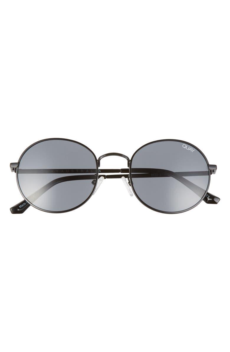 QUAY AUSTRALIA 50mm Mod Star Round Sunglasses, Main, color, BLACK/ SMOKE