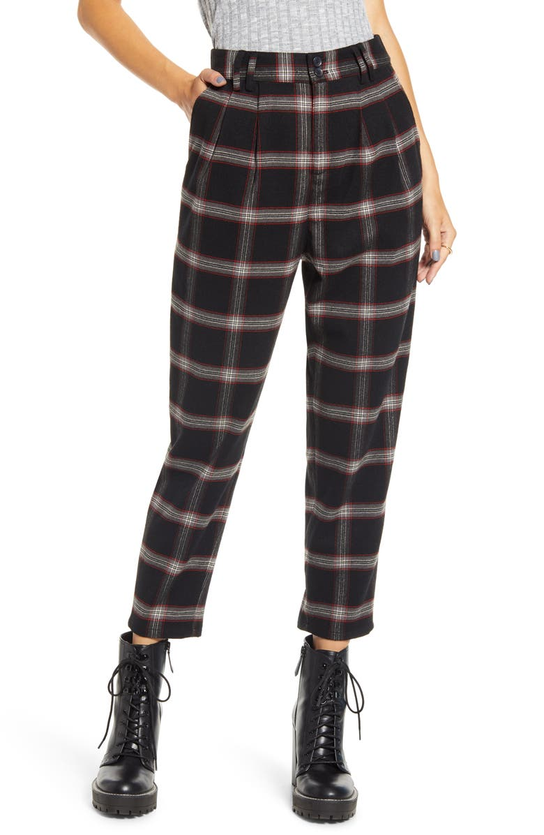 BP. x Claudia Sulewski Plaid Menswear Crop Pants, Main, color, BLACK SHANNON PLAID