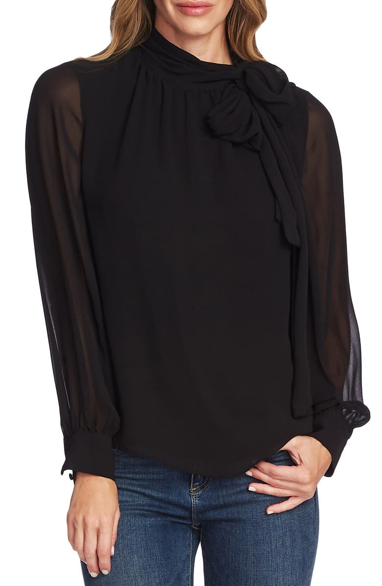 VINCE CAMUTO Tie Neck Long Sleeve Chiffon Blouse, Main, color, RICH BLACK