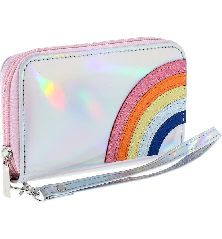 CAPELLI NEW YORK Rainbow Holographic Wristlet, Main, color, 040