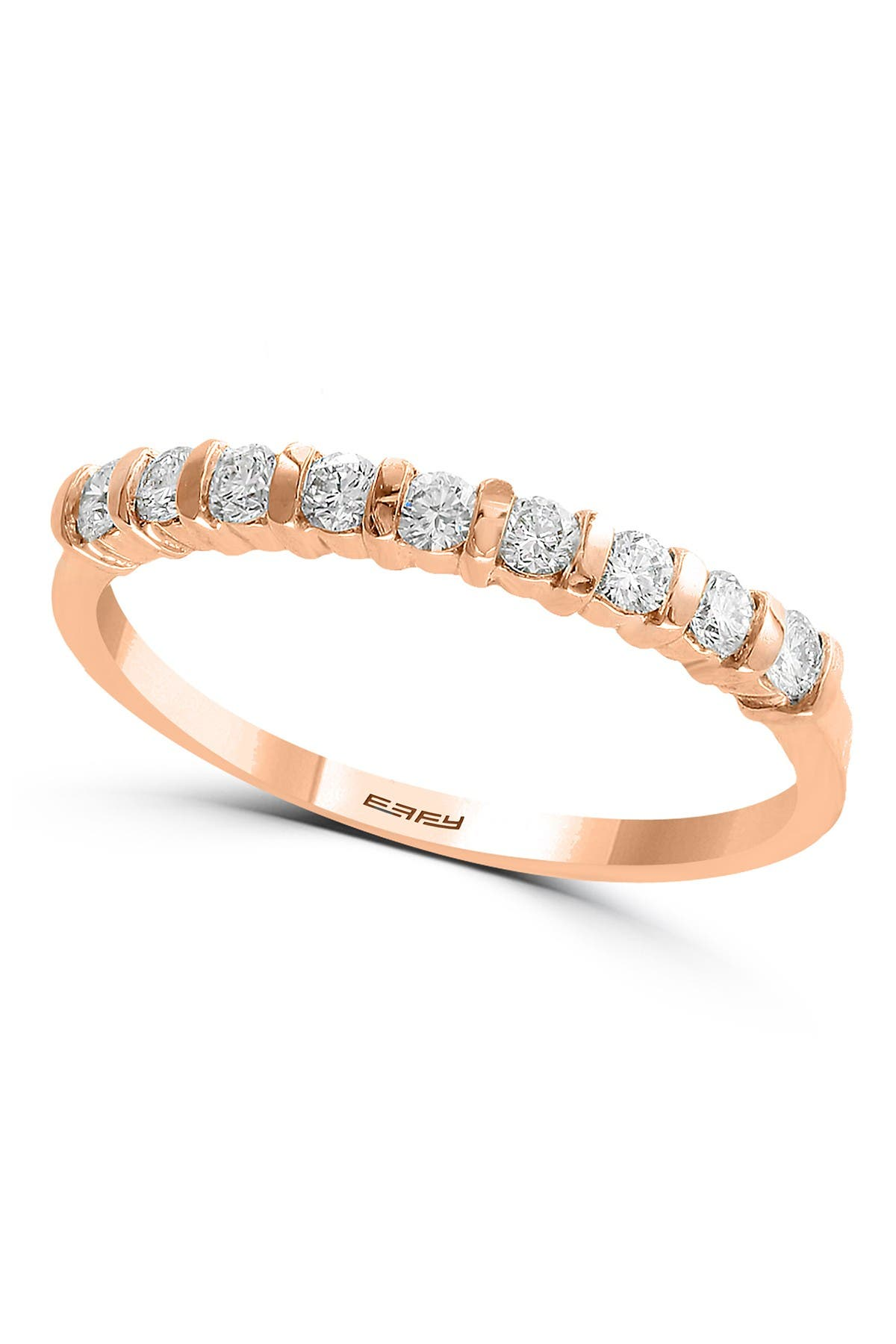 Image of Effy 14K Rose Gold Diamond Ring - 0.26 ctw - Size 7