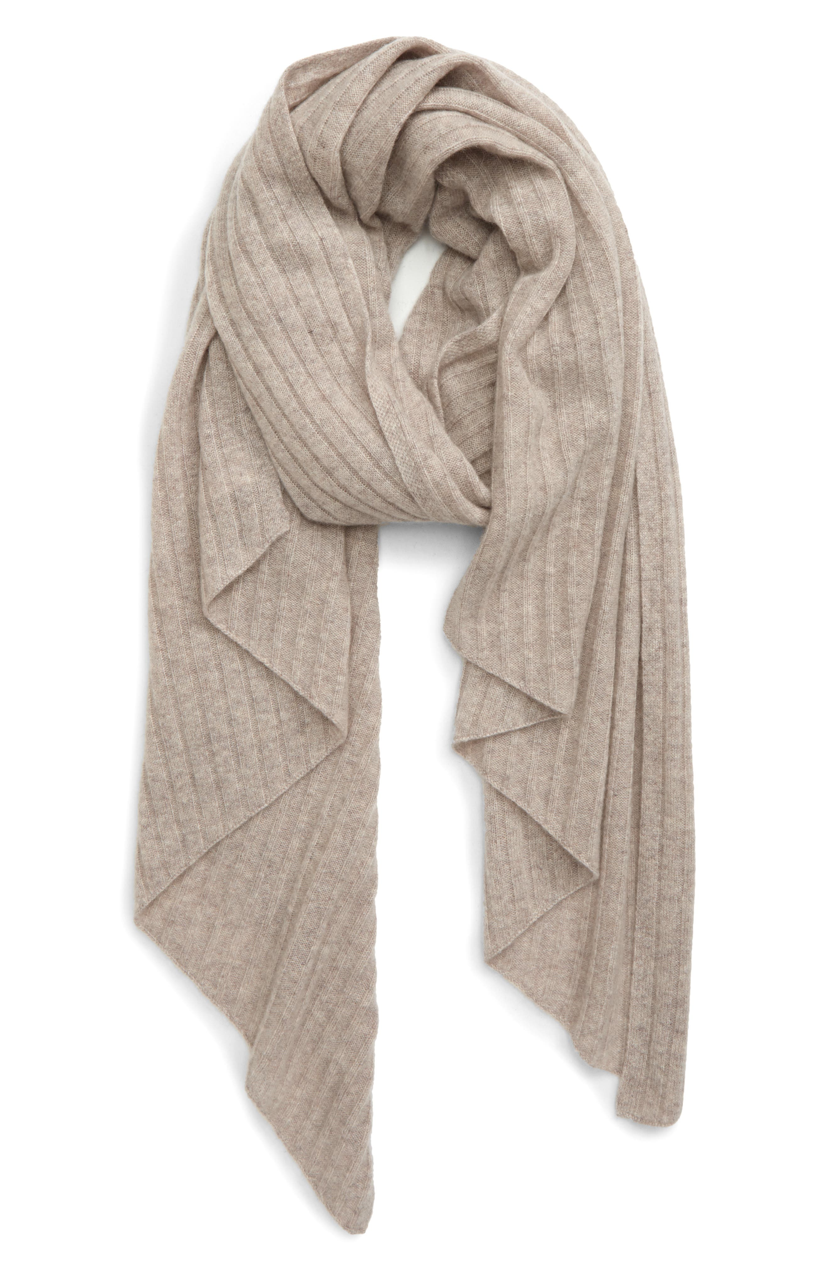 The parallelogram shape enhances the elegant drape of this ribbed scarf knit from luxurious cashmere. Style Name: Halogen Diagonal Rib Cashmere Scarf. Style Number: 6018085. Available in stores.