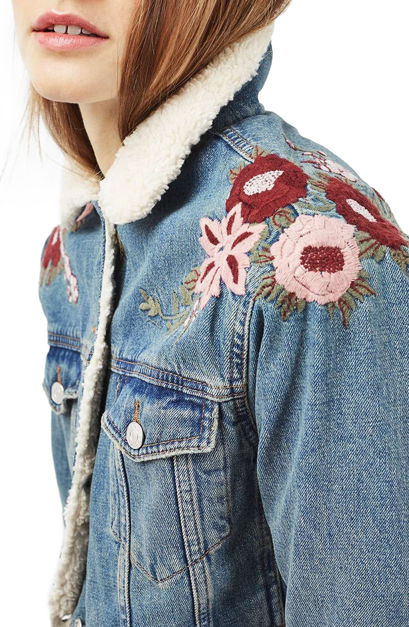 ,                             Embroidered Western Denim Jacket,                             Alternate thumbnail 3, color,                             400