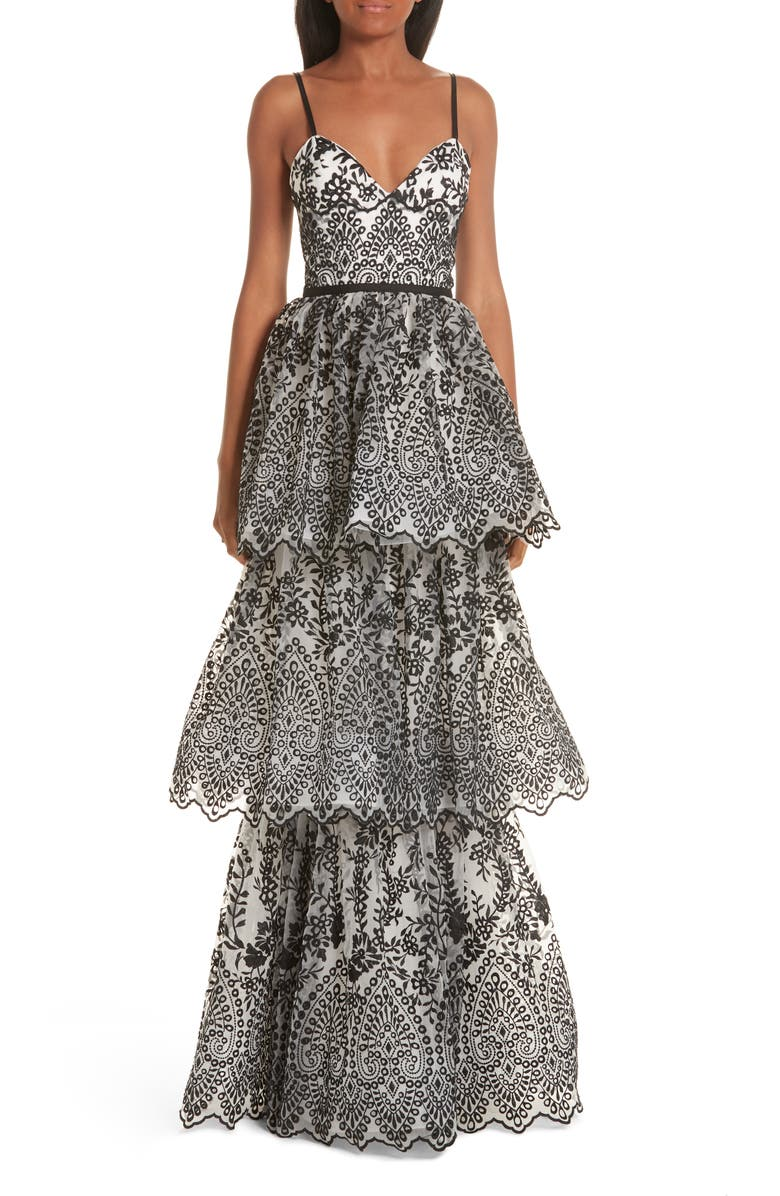 MARCHESA NOTTE Tiered Eyelet Evening Dress, Main, color, 900
