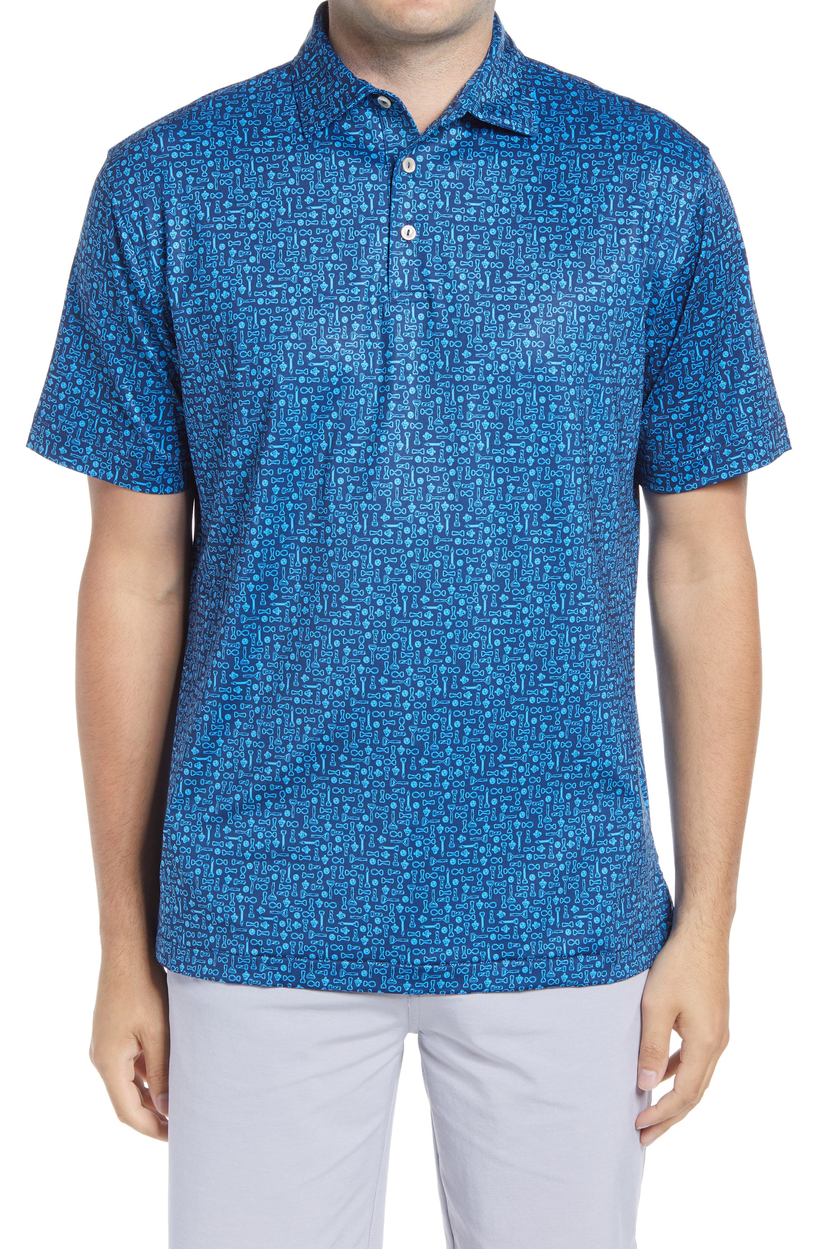 Smart, stretchy tech fabric means a flexible performance fit in a versatile polo shirt patterned in a vibrant print. Style Name: Peter Millar Print Stretch Polo Shirt. Style Number: 6070190. Available in stores.
