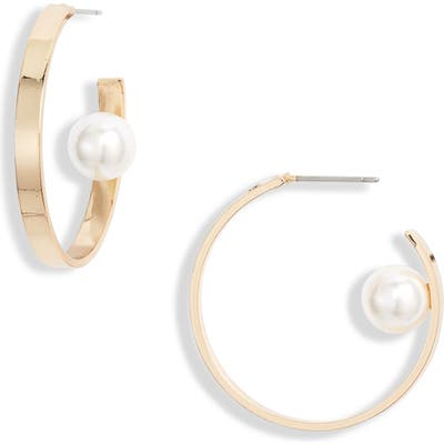 Ettika Imitation Pearl Hoop Earrings